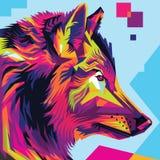 Ilustração principal do pop art do lobo Imagens de Stock