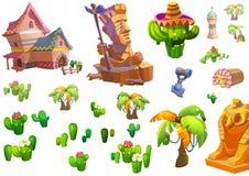 Ilustração: Projeto dos elementos do tema do deserto Ativos do jogo A casa, a árvore, o cacto, a estátua de pedra Fotos de Stock