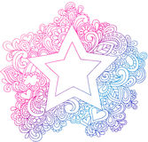 Ilustração psicadélico do vetor da estrela do esboço Fotos de Stock