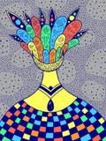 Ilustração psicadélico drawncolorful da mão com a menina surreal estrangeira Arte fant?stica abstrata Arte -final do vetor ilustração royalty free