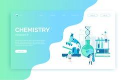 A ilustração química com cientistas, microscópio do laboratório, tubos, ADN, pesquisa ilustração stock