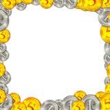 Ilustração quadrada do quadro do fundo das moedas Fotografia de Stock Royalty Free