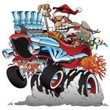 Ilustração quente de Rod Santa Christmas Cartoon Car Vetora ilustração royalty free