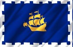 Ilustração realística da bandeira de Cidade de Quebec ilustração stock