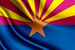 Ilustração realística da bandeira do Arizona ilustração royalty free