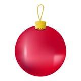 Ilustração realística da bola vermelha da árvore de Natal Ornamento da árvore de abeto do Natal isolado no branco Imagens de Stock Royalty Free