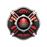 Ilustração realística da imagem do emblema do departamento dos bombeiros ilustração royalty free