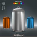 Ilustração realística do modelo da lata de soda para a Web e o móbil fotos de stock royalty free