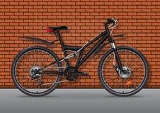Ilustração realística do vetor da bicicleta Metade-cara metálica preta da bicicleta com muitos detalhes do múltiplo que estão no  ilustração stock