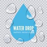 Ilustração realística do vetor da gota da água Foto de Stock