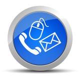 Ilustração redonda azul do botão do ícone do contato ilustração stock