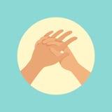 Ilustração redonda de lavagem do vetor do procedimento das mãos ilustração stock