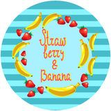 Ilustração redonda do vetor da sobremesa da morango e da banana Imagem de Stock Royalty Free