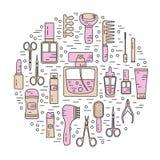 Ilustração redonda dos cosméticos Fotografia de Stock Royalty Free
