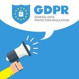 Ilustração regulamentar do conceito da proteção de dados geral GDPR - 25 de maio de 2018 ilustração do vetor