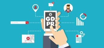 Ilustração regulamentar do conceito da proteção de dados geral GDPR - 25 de maio de 2018 ilustração royalty free