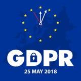 Ilustração regulamentar do conceito da proteção de dados geral GDPR - 25 de maio de 2018 Foto de Stock Royalty Free