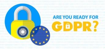 Ilustração regulamentar do conceito da proteção de dados geral GDPR - 25 de maio de 2018 ilustração stock