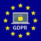 Ilustração regulamentar do conceito da proteção de dados geral GDPR - 25 de maio de 2018 Imagem de Stock