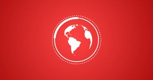 Ilustração rendida do globo da terra do planeta que gira com animação do vetor de Infographic em vermelho e em branco Foto de Stock
