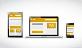 Ilustração responsiva do conceito da Web dos Web site Fotos de Stock Royalty Free