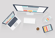 Ilustração responsiva do design web e do vetor do desenvolvimento da Web Imagem de Stock