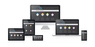 Ilustração responsiva do vetor do design web com projeto preto moderno do Web site Fotos de Stock Royalty Free