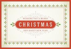 Ilustração retro do cartão do Natal Fotografia de Stock