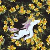 Ilustração retro do estilo com flores e animal Fotografia de Stock Royalty Free
