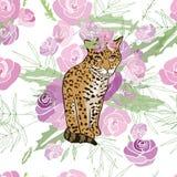 Ilustração retro do estilo com flores e animal Imagens de Stock Royalty Free