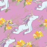 Ilustração retro do estilo com flores e animal Fotografia de Stock