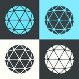 Ilustração retro do grupo de cor do projeto liso do poliedro do vetor ilustração royalty free