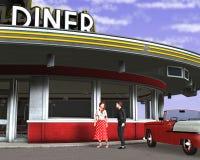 Ilustração retro do jantar dos anos 50 do vintage Imagens de Stock