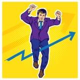Ilustração retro do pop art do homem de negócios ilustração stock
