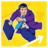Ilustração retro do pop art do homem de negócios ilustração royalty free