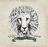 Ilustração retro do projeto da cabeça do leão do vetor Fotos de Stock