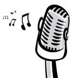 Ilustração retro do vetor da silhueta do microfone Fotos de Stock