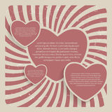 Ilustração retro do vetor do fundo do Grunge do coração abstrato Foto de Stock
