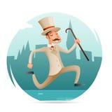 Ilustração retro do vetor do projeto dos desenhos animados do ícone vitoriano feliz running do caráter do homem rico da pressa do Fotografia de Stock Royalty Free
