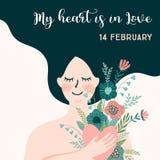 Ilustração romântica com mulher Conceito de projeto do vetor para o dia de Valentim e os outros usuários imagem de stock royalty free