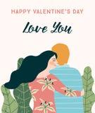 Ilustração romântica com povos Conceito de projeto do vetor para o dia de Valentim e os outros usuários fotografia de stock royalty free