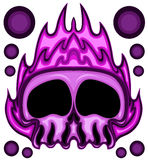 Ilustração roxa do vetor da cabeça do crânio do fogo ilustração do vetor