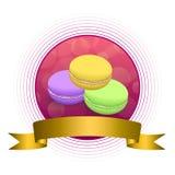 Ilustração roxa violeta do quadro da fita do círculo do ouro verde do amarelo abstrato do bolinho de amêndoa do rosa do alimento  Fotos de Stock