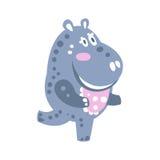 Ilustração running do vetor do caráter bonito do hipopótamo dos desenhos animados Fotos de Stock
