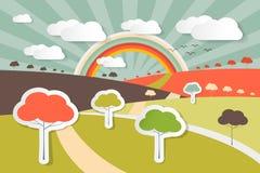 Ilustração rural da cena da paisagem da natureza Imagem de Stock Royalty Free