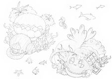 Ilustração: Série do livro para colorir: Mundo submarino Linha fina macia ilustração stock