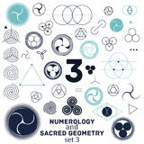 Ilustração sagrado da geometria e do vetor dos símbolos da numerologia Fotografia de Stock