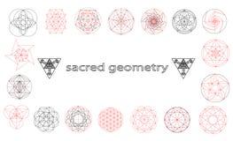 Ilustração sagrado do vetor dos símbolos e dos signes da geometria Tatuagem do moderno Flor do símbolo da vida Imagens de Stock