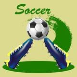 Ilustração, sapatas do futebol e bola abstratas em um backgrou claro Ilustração do Vetor