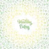 Ilustração saudável do vetor comer com teste padrão dos ícones dos vegetais ilustração stock
